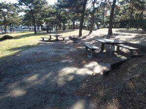 海の公園 バーベキュー 傾斜