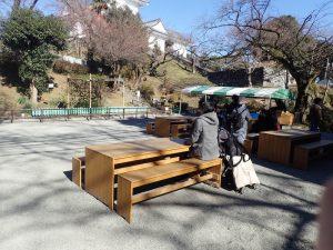 小田原城址公園 こども遊園地 ベンチ テーブル