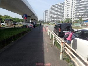 海の公園 臨時駐車場入口
