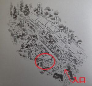東慶寺の鐘楼の配置図