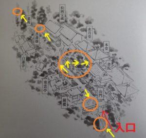 東慶寺の撮影紅葉ポイント全体図