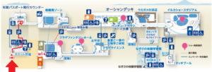 新江ノ島水族館:入場口から2Fまでの地図マップ