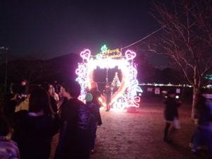 宮ヶ瀬クリスマスイルミネーションオブジェとジャンボツリー