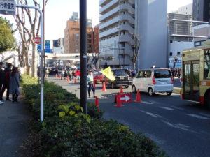 平塚八幡宮の初詣:国道1号規制状況