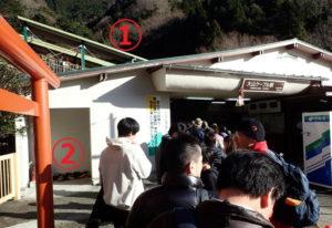 大山阿夫利神社:大山ケーブルカー乗車待ち